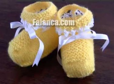 Anlatımlı Bebek Örgüleri Sarı Patik  – Video