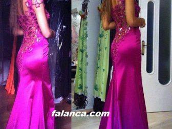2015 Yeni Abiye Modelleri Saten Sirt Dekolteli