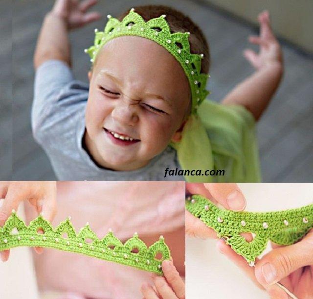 Taç şeklinde incili çocuk saç bandı