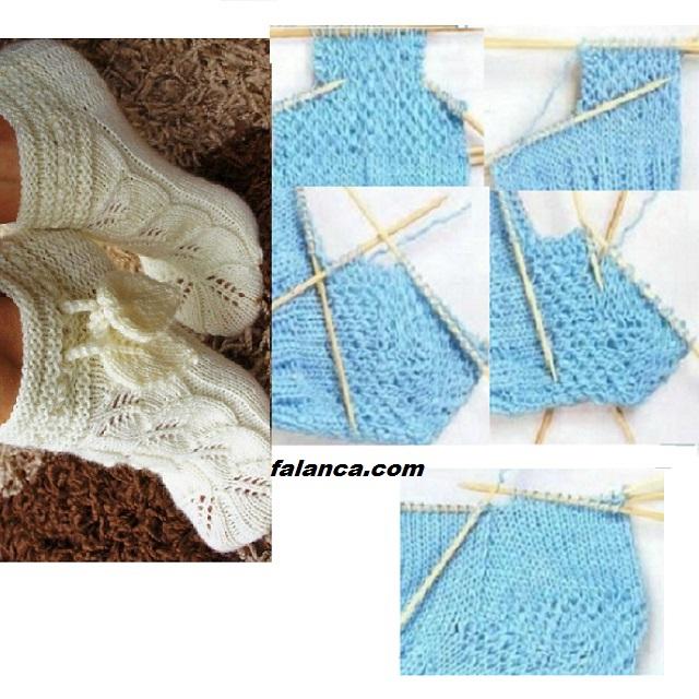 Yaprak Deseni Çorap Patik - 4