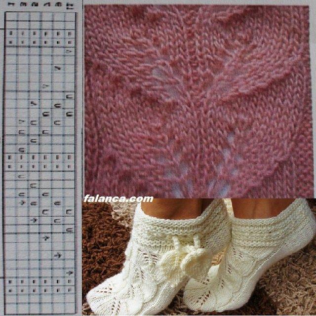 Yaprak Deseni Çorap Patik - 3