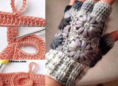 Tığ işi parmaksız motifli eldiven