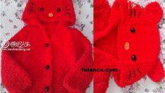 Hello Kitty Kapüşonlu Çocuk Hırkası