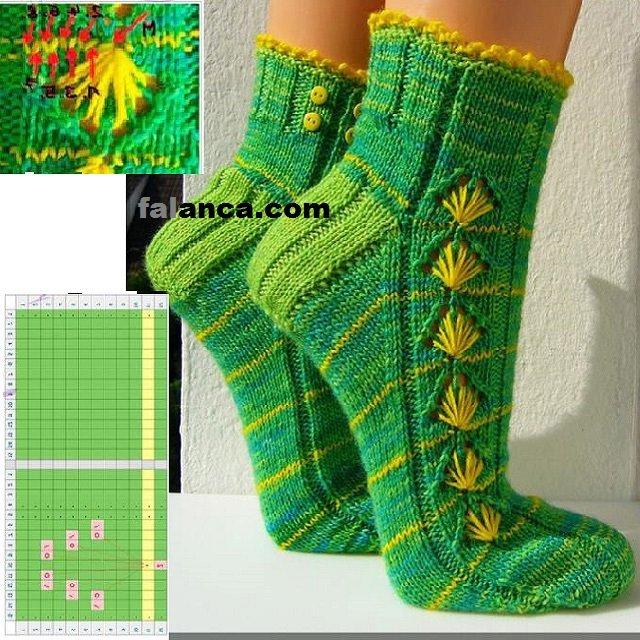 karahindiba örgü çorap yapýmý 2