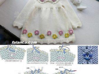Yakalı Örgü Çocuk Elbisesi