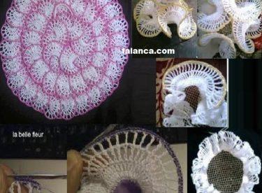 Kumaş Üzerine Dantel Salon Takımı Resimli Yapılışı