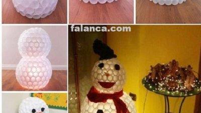 Plastik Bardaktan Işıklı Kardan Adam Yapılışı