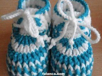 Mavi Beyaz Bebek Bot Patik