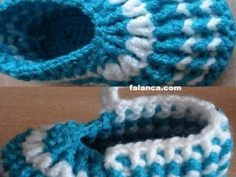 Mavi Beyaz Bebek Bot Patik 0