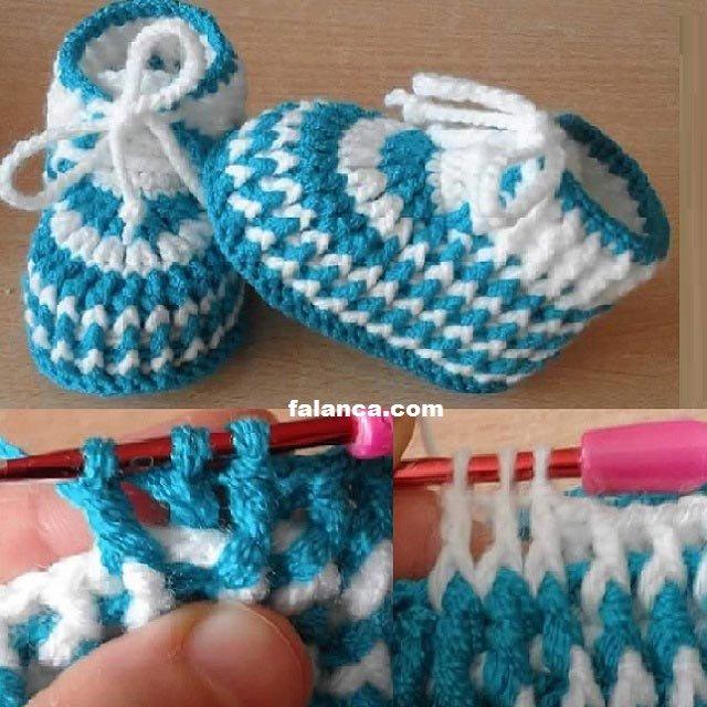 Mavi Beyaz Bebek Botu Resimli Yapılışı