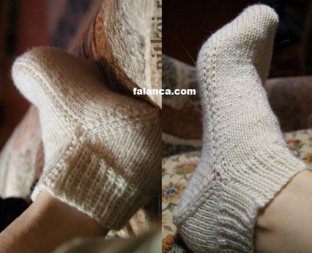 Topuklu Kısa Çorap Resimli Örülüşü