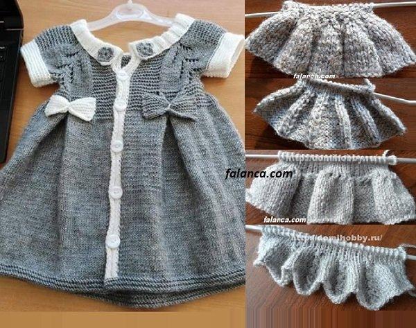 Elbise Şeklinde Pileli Bebek Yeleği Yapılışı 5