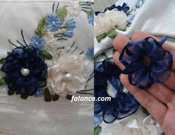 Havlu Üzerine Kurdele Çiçek İşleme Yapılışı 3