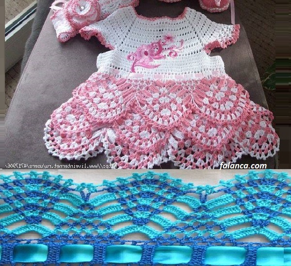 Renkli Tığ İşi Bebek Elbisesi Yapılışı 1