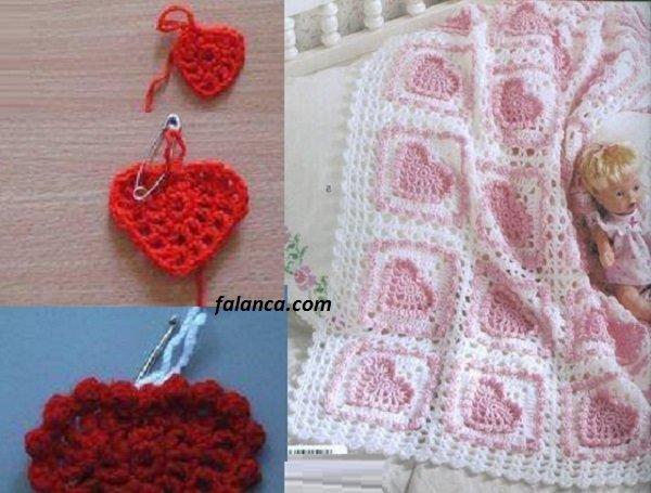 Kabartmalı Kalp Desenli Kız Bebek Battaniyesi 1