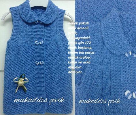Bebek Yakalı Desenli Mavi Yelek Modeli