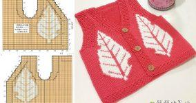 Yapraklı Kırmızı Erkek Bebek Yelek Modeli