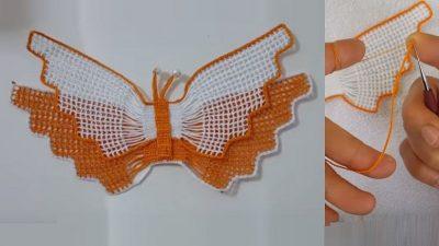Havlu Göbek Kelebekli Dantel Modeli