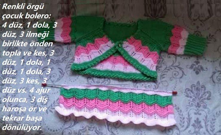 Renkli Örgü Çocuk Bolero Modeli