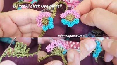 İki Renkli Çiçek Oya Modeli