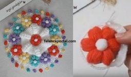 Puf Çiçekli Renkli Lif Modeli 1