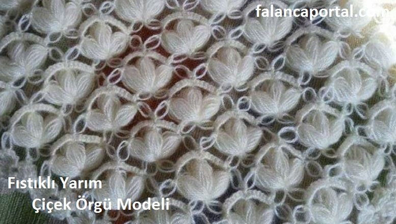Fıstıklı Yarım Çiçek Örgü Modeli