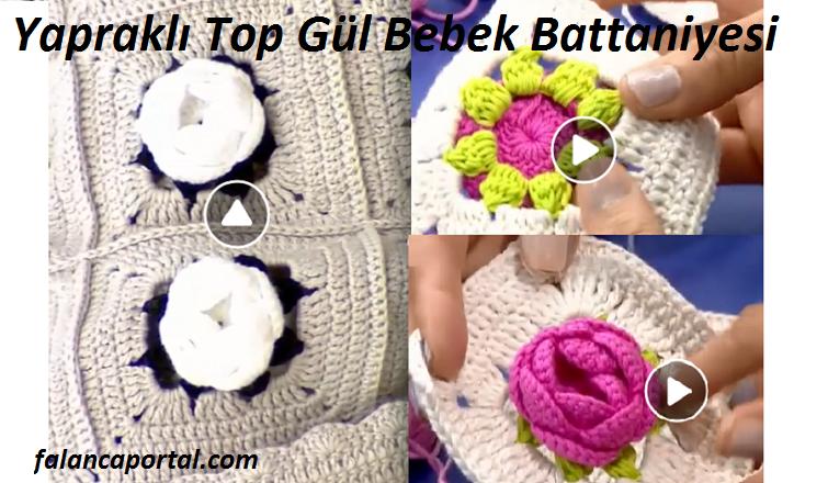 Yapraklı Top Gül Bebek Battaniyesi 1