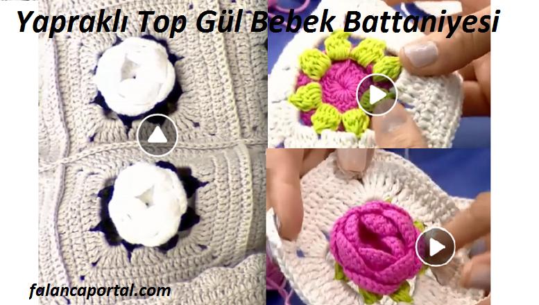 Yapraklı Top Gül Bebek Battaniyesi