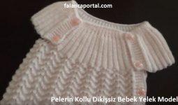 Pelerin Kollu Dikissiz Bebek Yelek Modeli 1