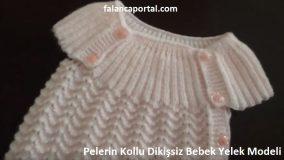 Pelerin Kollu Dikişsiz Bebek Yelek Modeli