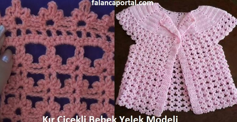 Kir Cicekli Bebek Yelek Modeli 1
