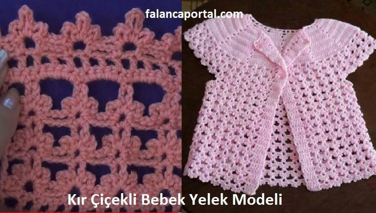 Kır Çiçekli Bebek Yelek Modeli