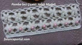 Pembe İnci Çiçekli Yelek Modeli 1