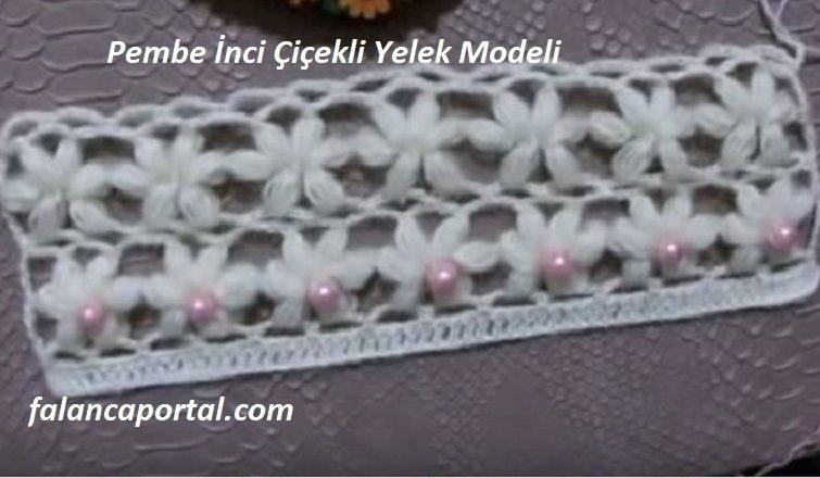Pembe Inci Cicekli Yelek Modeli 1
