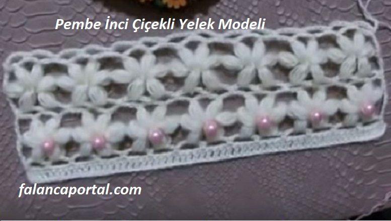 Pembe İnci Çiçekli Yelek Modeli