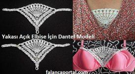 Yakası Açık Elbiseler İçin Dantel Modeli 1