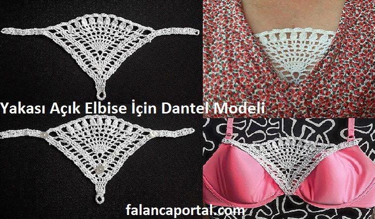 Yakasi Acik Elbise Icin Dantel Modeli 1