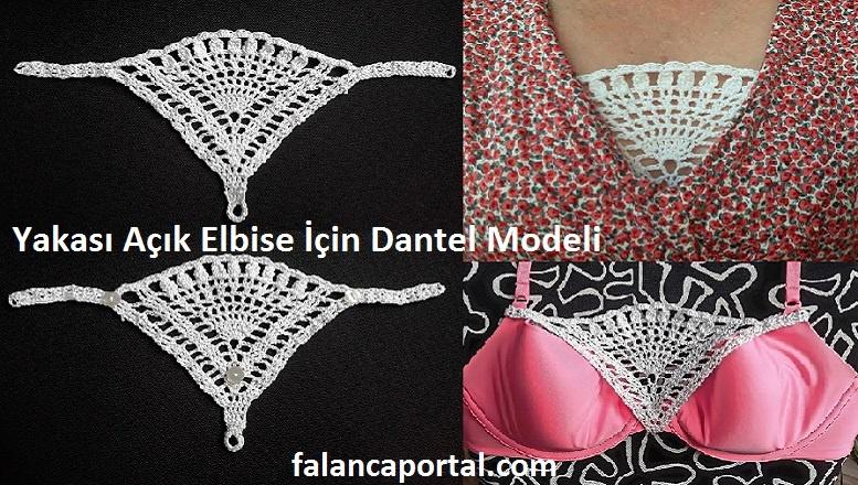 Yakası Açık Elbiseler İçin Dantel Modeli