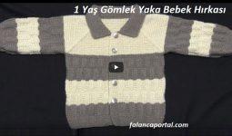 1 Yaş Gömlek Yaka Bebek Hırkası 1