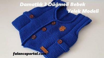 Damatlık 3 Düğmeli Bebek Yelek Modeli