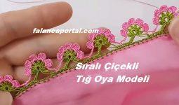 Sıralı Çiçekli Tığ Oya Modeli 1