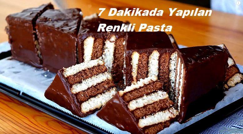 7 Dakikada Yapılan Renkli Pasta