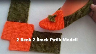 2 Renk 2 İlmek Patik Modeli