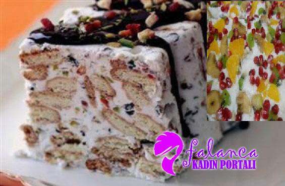 Kolay Bisküvili Meyveli Pasta