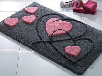 Kalp Desenli Banyo Paspas Modelleri