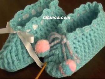 Ponponlu Bebek patiği Videolu Yapılışı