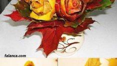 Ağaç yapraklarından orta çiçek yapımı
