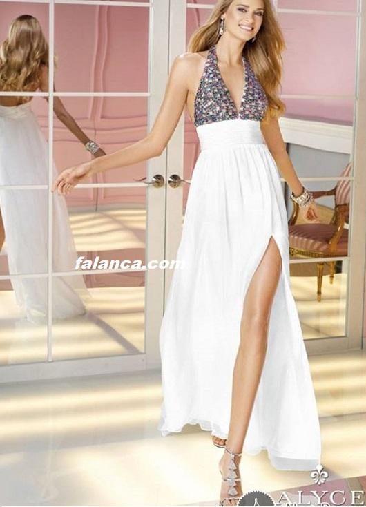 Bacak Dekolteli Elbise Abiye Modelleri Yeni Beyaz 1