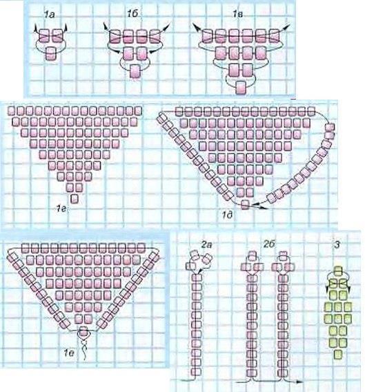 Как сделать из бисера розу ее схема