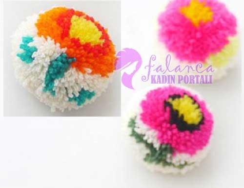 Çiçekli Ponpon Yapılışı